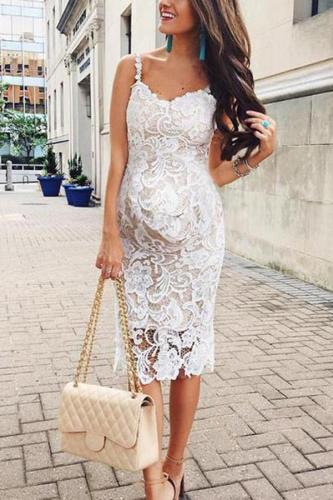 Maternity Sexy Lace Plain Sleeveless Formal Dress