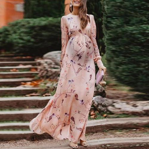 Maternity Elegant round neck pink print long sleeve chiffon dress