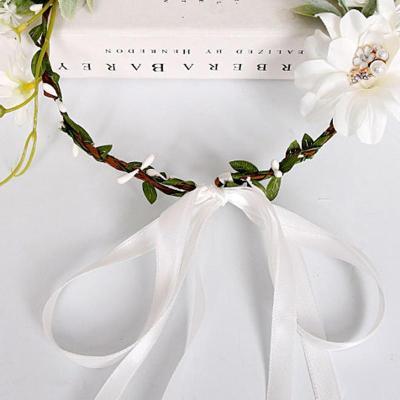 Bohemian rhinestone pearl wedding wreath headwear