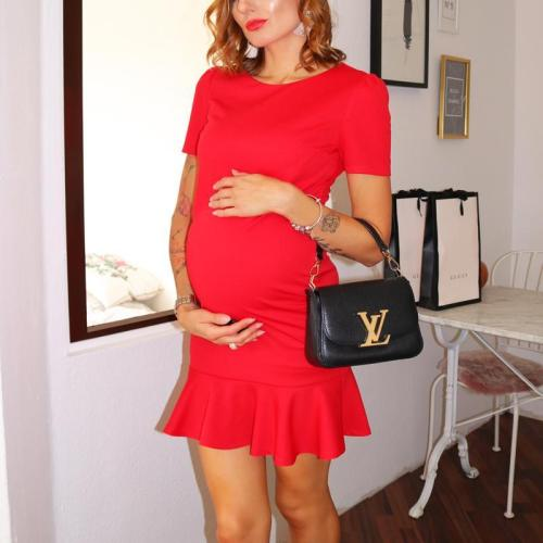 Maternity Solid Color Skater Dress