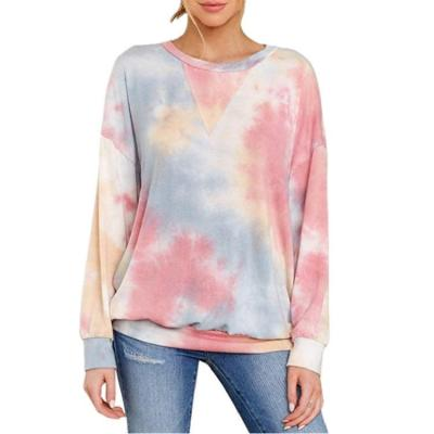 2020 women's Tie Dyed long-sleeved Round-neck T-shirt Guard Women