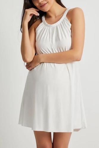 Maternity Solid Color Vacation Dress