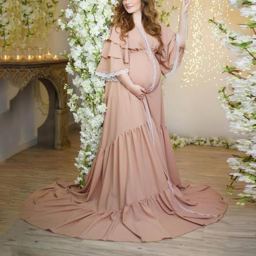 Maternity Casual V-neck Lace-paneled Chiffon Ruffled Dress