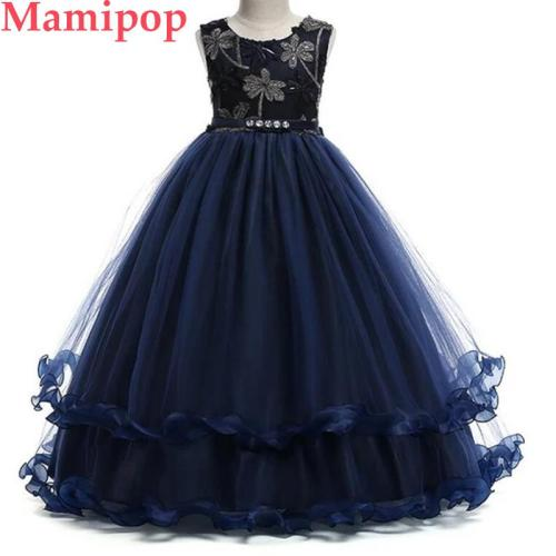 Girls Princess Flower Party Dress Beading Tulle Pageant Dresses
