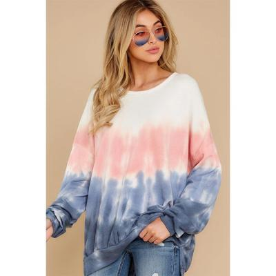 New Tie Dye Long Sleeve Crew Neck Top