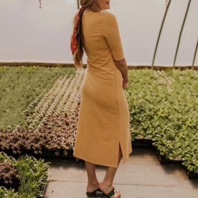 Maternity Soild Color Halflong Sleeve Dress