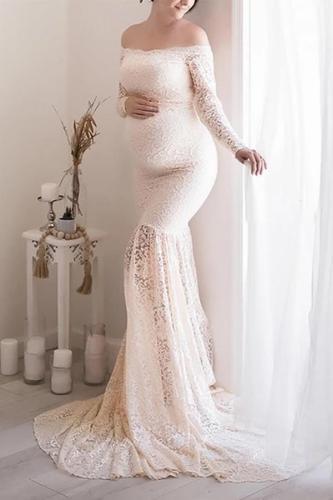 Maternity Boat Neck Lace Long Sleeve Dress