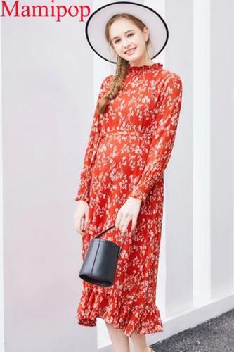 Maternity Fishtail Fashion Long Sleeve Printing Ruffles Chiffon Maternity Dress