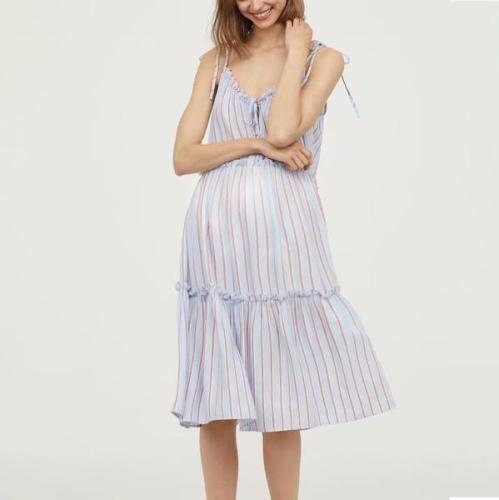 Maternity Fashion Stripe Long Dress