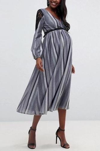 Maternity Casual V Neck Long Sleeve Stripe Dress