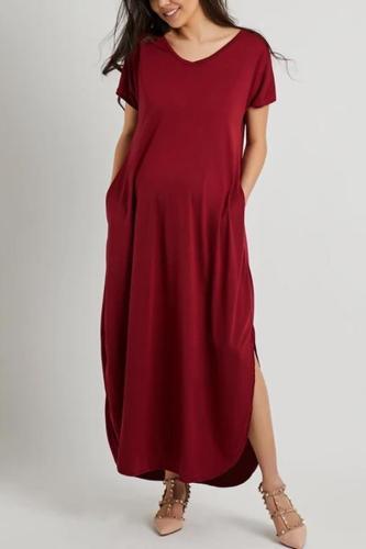 Maternity V-Neck Slit Plain Maxi Dress