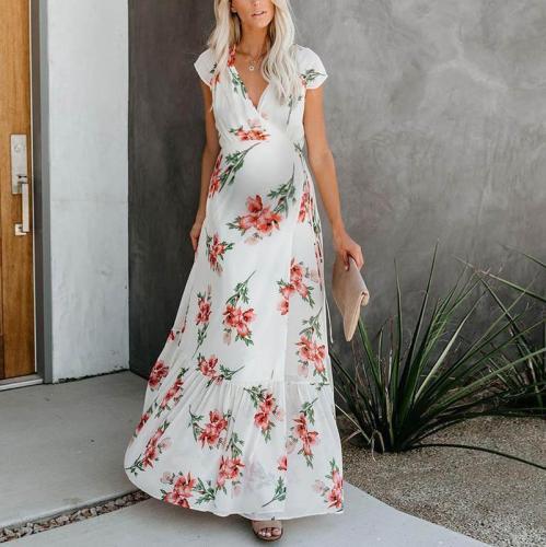 Maternity short-sleeved flower print dress