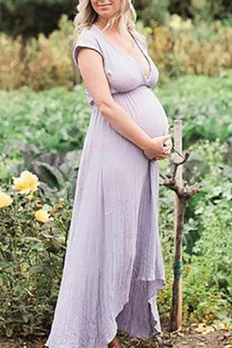 Maternity Casual V Neck Short Sleeve Maxi Dress