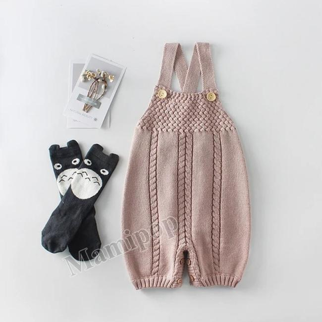 Boys and Girls Tie Flower Back Strap Knitting Wool One-piece Suit