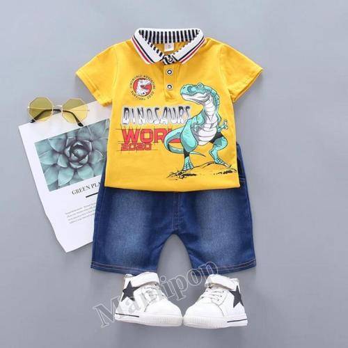 baby T shirt boy polo shirt summer 2020 card king dragon letter short sleeve suit