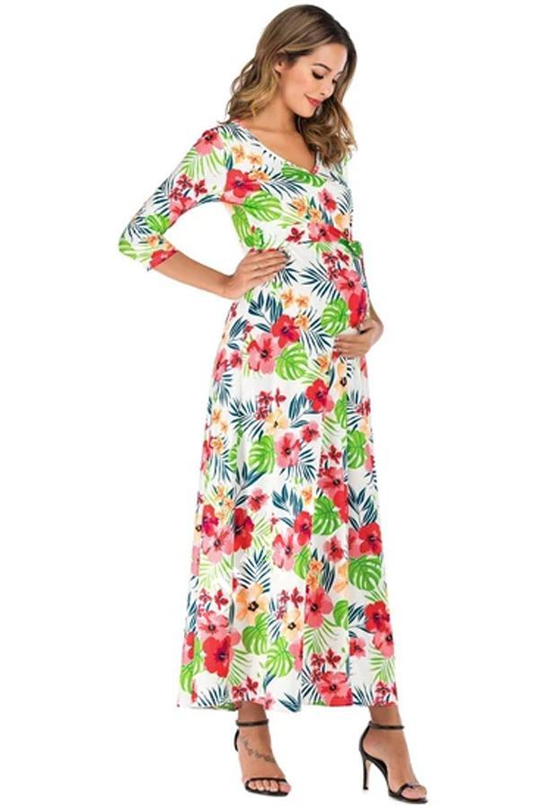 Cross-deep V-neck belt waist seven-sleeve drag pregnant women jumpsuit long skirt