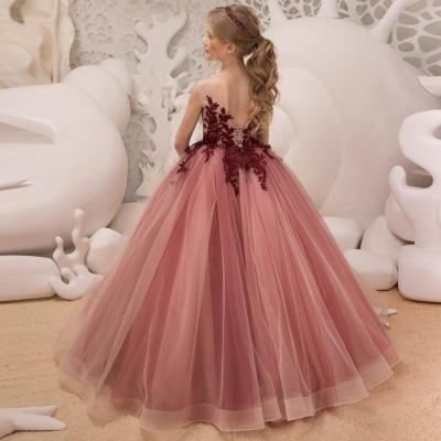2020  Lace Princess Red Flower Children's Evening Dress