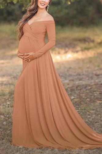 Maternity Off Shoulder Floor-Length Gorgeous Dress