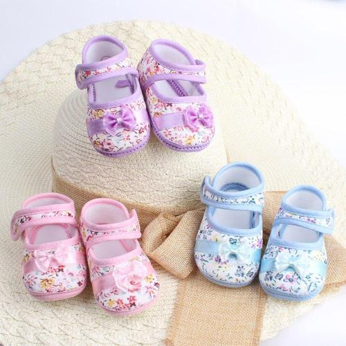 Infant Baby Girl Soft Sole Bowknot Print Casual Shoes Toddler Butterfly-knot Hook First Walker