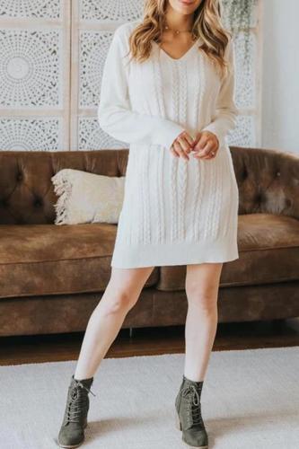 Fashion V-neck knit maternity mini sweater dress