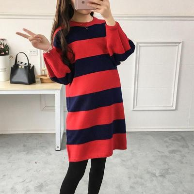 Maternity Stripe Long Sleeve Sweater Dress