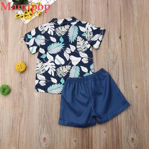 Baby Boy Bow Flower Shirt+Shorts Pants Formal Suit Clothes Sets