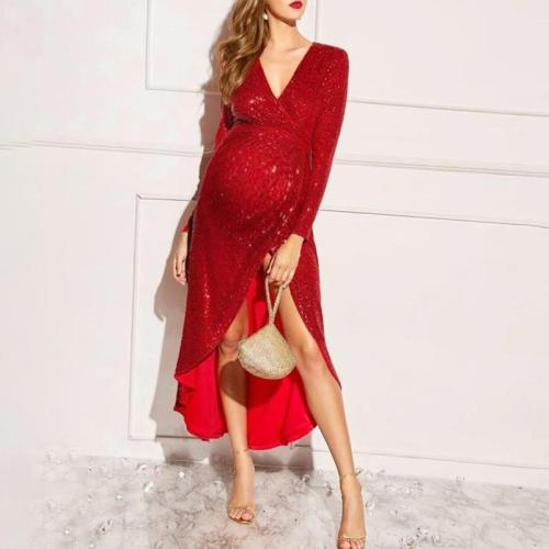 Maternity Elegant v-neck pure color slit dress