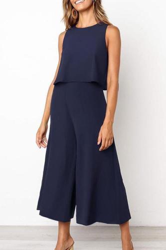 Maternity Fashion Pure Color Sleeveless Jumpsuit