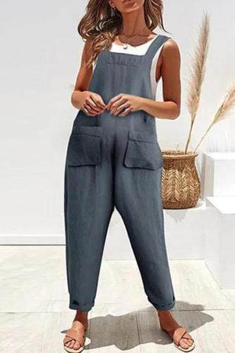 Maternity Casual Solid Pocket Cotton And Linen Suspender Jumpsuit