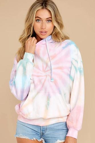 Autumn and Winter new style women's wear gradual Tie Dye Drawstring Pullover Sweater