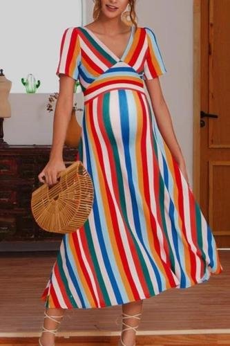 Maternity V-Collar Color Rainbow Striped Zipper Dress