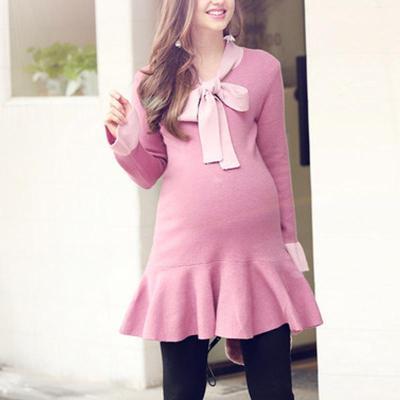 Maternity Ruffle Bow Long Sleeve Sweater Dress