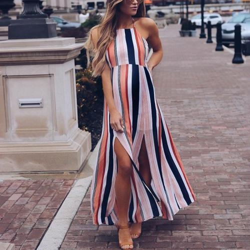 Maternity Striped Suspenders Slit At The Back And Shoulders Maxi Dress
