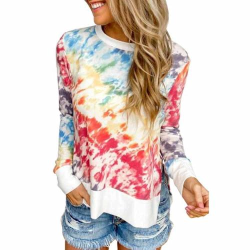 Women's Color Matching Tie Dye Print High Low Hem Pullover Long Sleeve Top