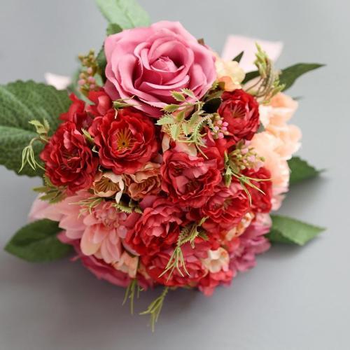 Silk Flower Artificial Plastic Flower Big Rose Bride Bonquet Wedding Home Accessories