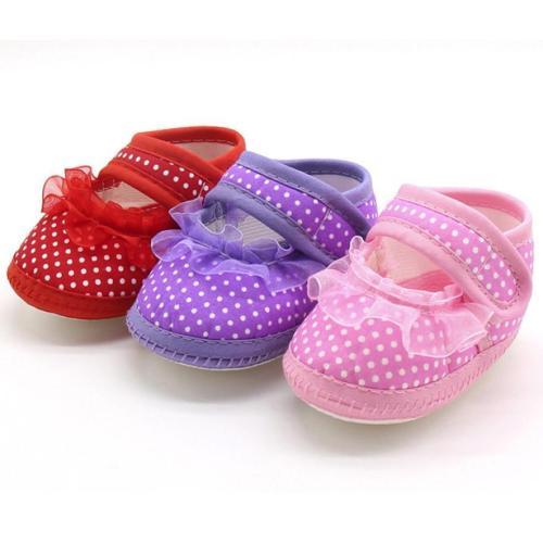 Baby Unisex Shoes 3Color Newborn Baby Dot Lace Girls Soft Sole Prewalker Warm Casual Flats Shoes