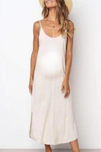 Maternity Solid Color Cami Midi Dress