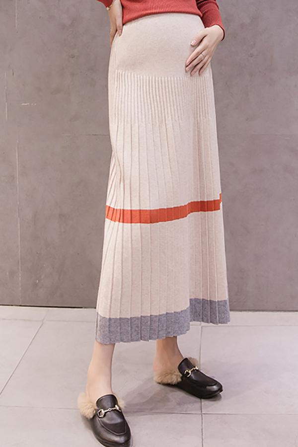 Maternity casual striped stomach lift A-line knit pleated skirt