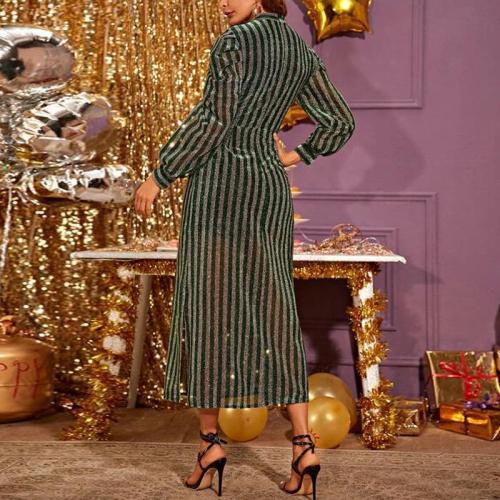 Maternity Vertical Stripst Half High Collar Puff Sleeve Dress