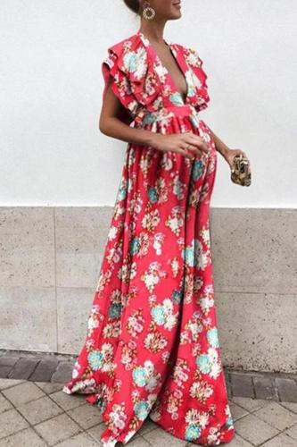 Maternity Deep V Neck Floral Pattern Dress