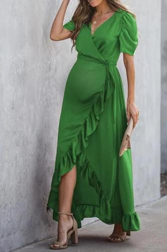 Maternity Fashion Solid Color Stitched Ruffle Dress