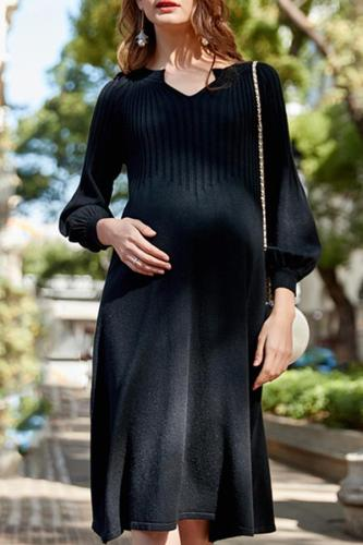 Maternity Thin Black Knit Dress