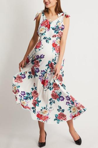Maternity Floral Print Maxi Dress