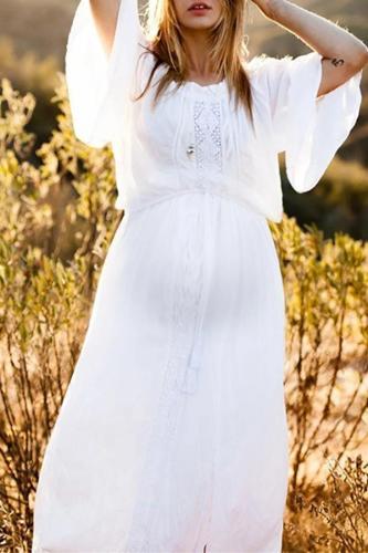 Maternity Fashion Round Neck Belted Cotton Dress