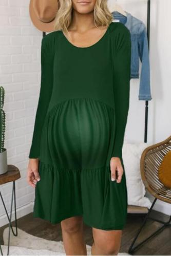 Maternity Cotton  Round Neck Long Sleeve Dress