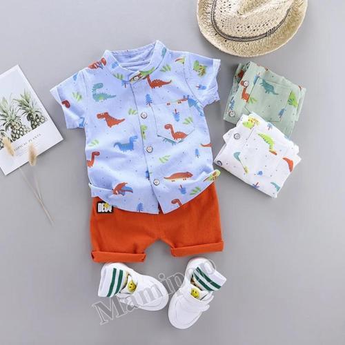 2020 summer boys new dinosaur short-sleeved shorts suit
