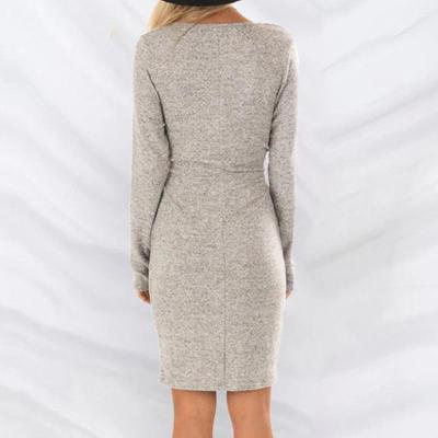 Maternity Lace-Up Long-Sleeved V-Neck Dress