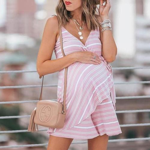 Maternity Flounced Stripes Cami Dress