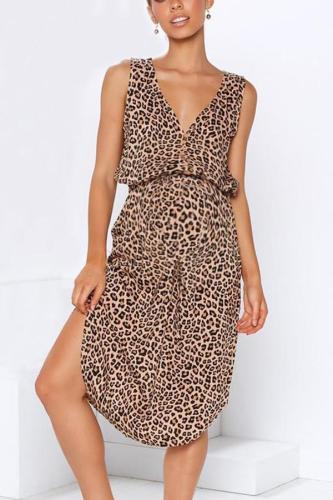 Maternity V-Neck Leopard Printing Tie Casual Dress