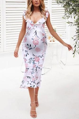 Maternity fashion V-neck floral bag hip dress